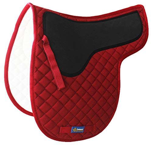 Tackus Horse Cotton Quilted ENGLISH SADDLE PAD Trail Contoured Gel Burgundy 72F25