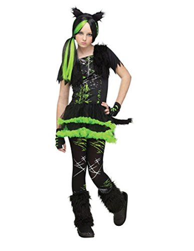 Kool Kat Halloween Costume (Fun World Costumes Women's Kool Kat Teen Costume, Black/Green, Junior)
