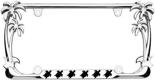 Turtle Animal Palm Tree Design Chrome Metal Auto License Plate Frame Car Tag Holder (Sea Animal License Plate Frame)