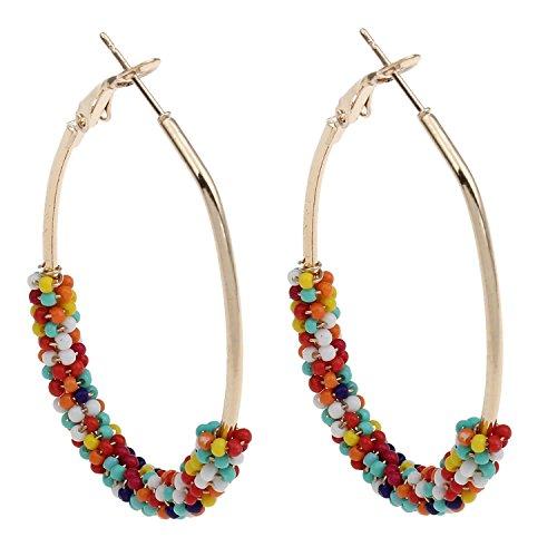 New Designs Women Punk Big Oval Loop Circle Hoop Earring Female Jewelry Colored Glass Seed Beads Gold-color Hoop Earrings,coloredb