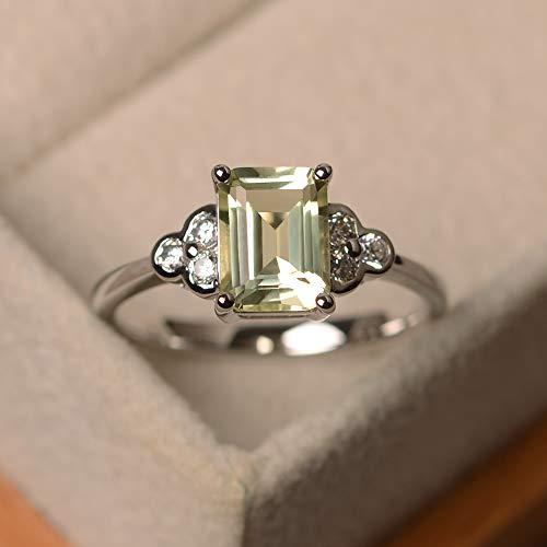 (elegant good lemon quartz rings emerald shape silver 925 jewelry for women)