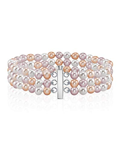 THE PEARL SOURCE 14K Gold 6-7mm AAAA Quality Round Multicolor Freshwater Cultured Pearl Triple Strand Bracelet for Women