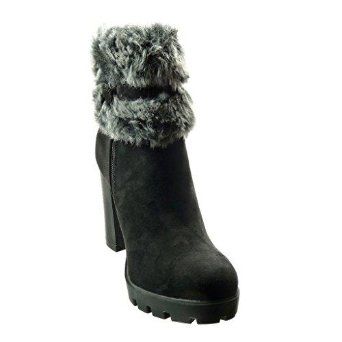 Angkorly - Zapatillas de Moda Botines zapatillas de plataforma mujer piel Hebilla Talón Tacón ancho alto 9 CM - Negro