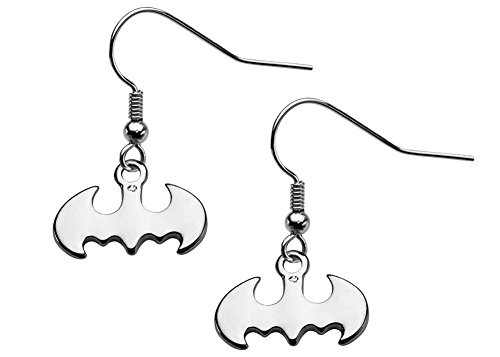 DC+Comics Products : DC Comics Stainless Steel Batman Dangle Hook Earrings (Silver-Tone)