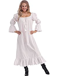 Adult Fancy Dress Party Medieval Chemise Maid Marion Women Complete Outfit White