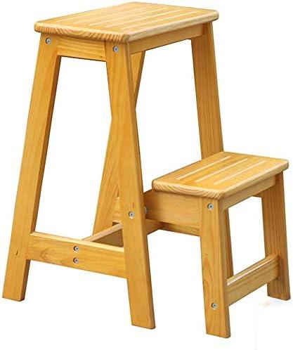 Taburete de escalera de madera de pino de doble uso Taburete de peldaño antideslizante de 2