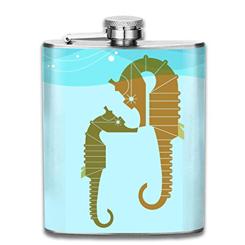 Laki-co Sea Horse Mom and Baby Hip Flask for Liquor Stainless Steel Bottle Alcohol 7oz