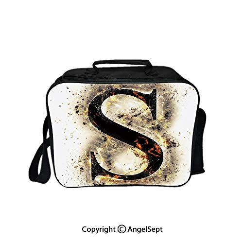 Lunch Box Carry Case Handbags,Fire Letter Uppercase S with Fiery Hot Flames Charred Symbol and Background Tan Black Orange 8.3inch,With Zipper For Adults Kids Teachers Workers