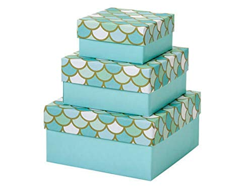 Mermaid's Paradise Nested Gift Boxes 3 Piece Square Small Set of 3 Tkdream from Tkdr