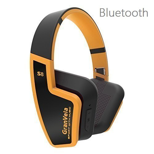 GranVela S8 Bluetooth 4.0 Headphones Foldable Wireless Headset with Mic for Running Sport or Travel,Up to 8 Hours of Battery Life,Also Comes with 3.5mm Cable-Orange For Sale