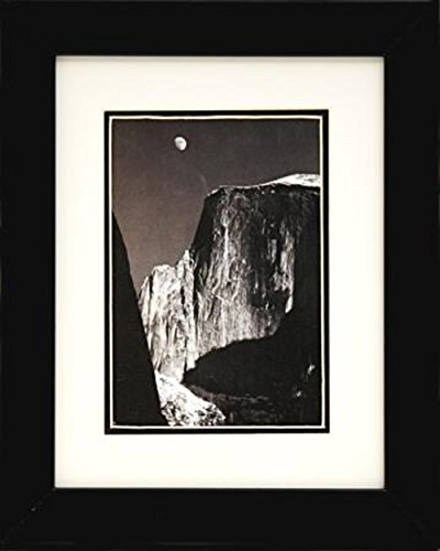 Buyartforless IF EBN1061 Glass Framed Moon and Half Dome by Ansel Adams Black & White Poster Print 8X10 Famous Photographer Art (Dome Half Moon)