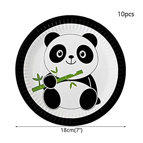 Party Supplies YUWANW Creative Fruit Platepanda Party Decorations Tableware Kit Disposable Cartoon Paper Plate Tablecover Birthday Party Baby Shower Jungle Party Supplies,Popcorn Box