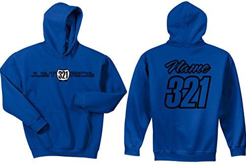 JUST RIDE Motocross Hoodie Sweatshirt Number Plate Custom Personalized Blue (Large, Blue/Black) ()