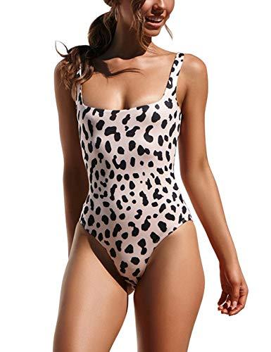 Honlyps Womens One Piece Swimsuit High Cut Bathing Suit Sexy Bikinis Leopard Snakeskin Print Swimwear Black ()