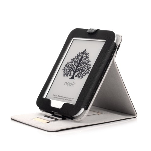 Barnes & Noble NOOK GlowLight Plus eReader Case - Mulbess Leather Case Cover with Kickstand and Elastic Hand Strap for NOOK GlowLight Plus Color Black by Mulbess (Image #2)'