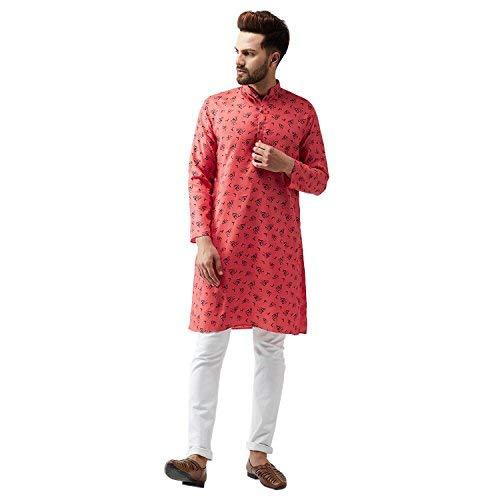 Indian-Traditional-Kurta-Pajama-Set-Shirt-Printed-Men-Kurta-Ethnic-Wear-XS-5XL thumbnail 15