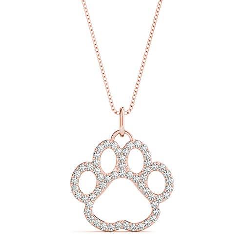 Rose 14KT 3/8 CT Round Cut Diamond Puppy Pendant Necklace Charm Amcor Design (0.375 Ct Round Diamond)