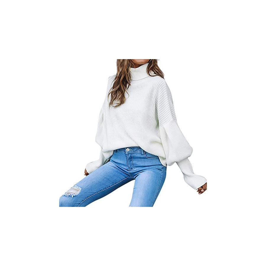 Franterd Women Lantern Sleeve Knitted Turtleneck Sweater Solid Fashion Loose Baggy Pullover Top Blouse Sweatshirt