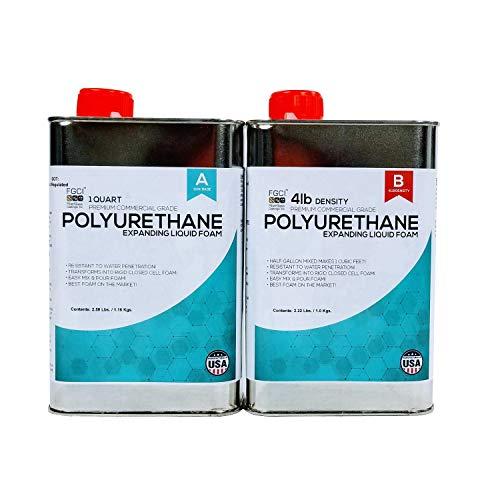 (Polyurethane Expanding Liquid Foam 1/2 Gallon KIT, 4 LB Density Polyurethane Foam, Includes 1 Quart of A & 1 Quart Part B, 2 Part Polyurethane Marine Foam)