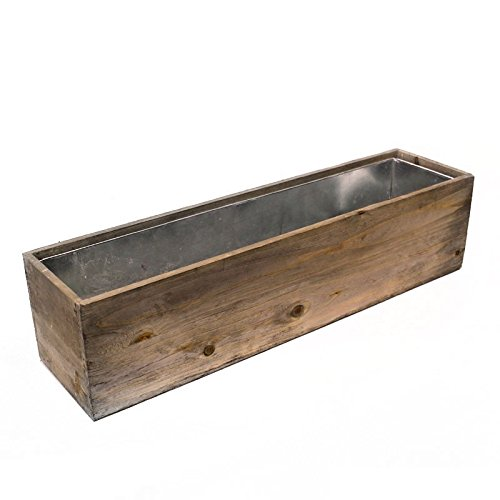 "CYS Excel Rustic Planter Box, 15 Sizes Available, Wood Planter, Decorative Box, Succulent and Floral Arrangements, Indoor Use Wood Box with Removable Liner, Wedding DÉCOR H:6"" Open:24x6"""