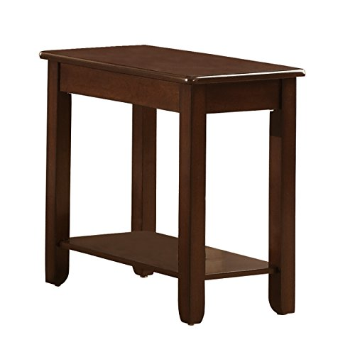 (Homelegance Carrier Chairside Table with Lower Shelf, Cherry )