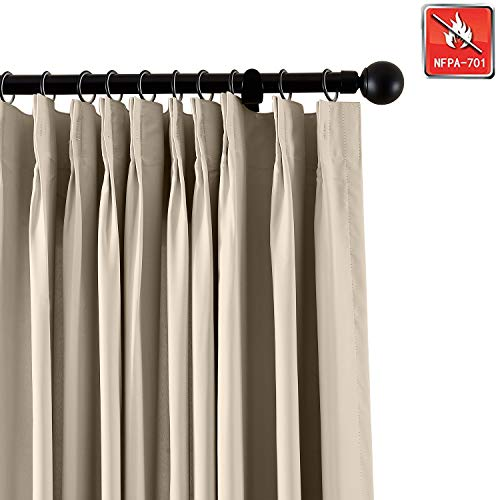 Macochico Fireproof Flame Retardant Thermal Insulated Curtains Blackout Pinch Pleat Drapery Panel for Home, Office, Hotel, School, Cinema Hospital, Beige 100