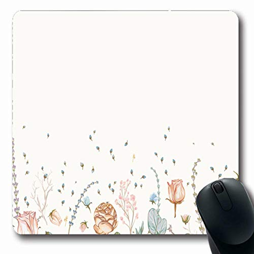 Ahawoso Mousepads Detailed Blue Watercolor Floral Border Vintage Herbs Victorian Wild Nature Blossom Boho Bright Design Oblong Shape 7.9 x 9.5 Inches Non-Slip Gaming Mouse Pad Rubber Oblong Mat