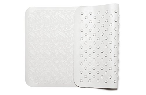 Anti-Slip Bath Mat, Antibacterial & Mildew Resistant,Top Quality Natural Rubber Shower Mat, Firm Suction Cup, Grip Flower (Fiori) Pattern Design - (Collection Whirlpool Jacuzzi)