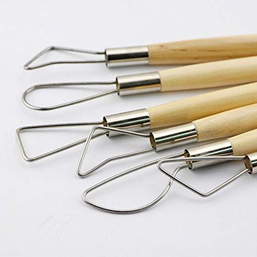 Carving Ceramics Sculpture Scraper Craft Modelling Tools Double Ended Wooden Ribbon Sculpting Tools for Pottery Kurtzy 6 Pcs Clay Tools