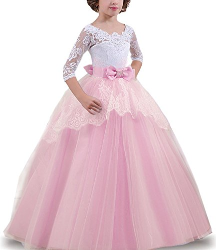 TTYAOVO Girls Lace Backless Ball Gowns Chiffon Flower Princess Pageant Party Dress Size 6-7 Years (Pink Princess Flower Girl Dresses)
