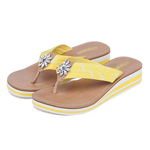 Aminshap Low Size Sandals Beach Comfortable color Slippers Yellow Flip Models Buckle flops Yellow Metal 37eu Female heeled Simple qd11B8Zx