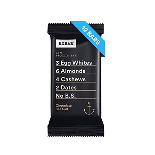 RXBAR Whole Food Protein Bar, Chocolate Sea Salt, 1.83 Ounce (Pack of 12) - Fiber Chews Chocolate