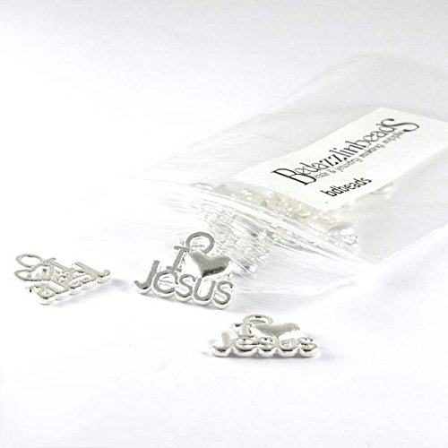 20 Silver I Love Jesus Christian Charms w/Heart Plated Pewter Base Metal