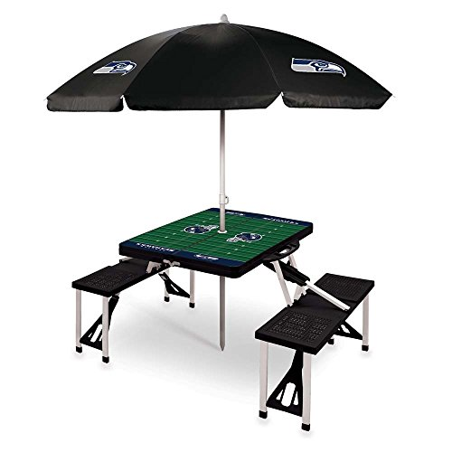 NFL Seattle Seahawks Picnic Table Sport with Umbrella Digital Print, One Size, Black by PICNIC TIME