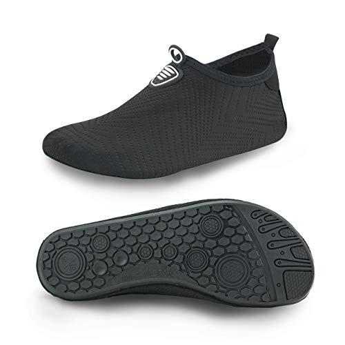 MET520 Men Women Water Shoes Quick-Dry Aqua Socks BarefootSlip-on for Sport Beach Swim Surf Yoga Exercise Embossed Black Women Size 5 6 / Men Size 3 4