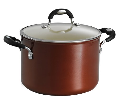 Tramontina 80110/051DS Style Ceramica 01 Covered Stock Pot, 6-Quart, Metallic Copper