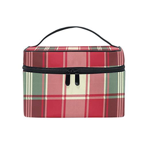 Makeup Train Cases Pixel Plaid Texture Travel Cosmetic Bag Portable Artist Storage Bag Organizer for Womens