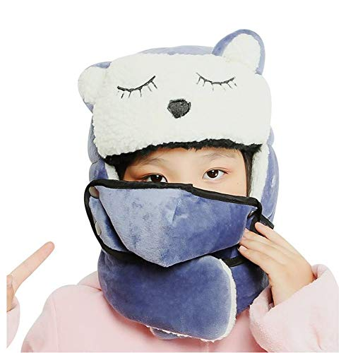 Hats & Caps XUERUI Hat Face Mask Children's Cartoon Thick Thermal Winter Windproof Ski Cycling Hood Cover Cap (Color : Blue, Size : M(9-15years Old))