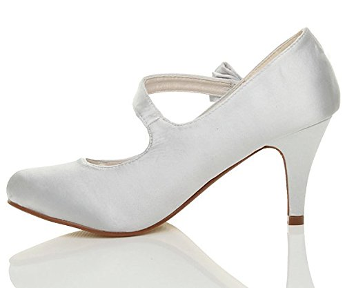 Damen Hoher Absatz Riemen Schleife Hochzeit Schuhe Pumps Größe 3 36 j0TfIkU