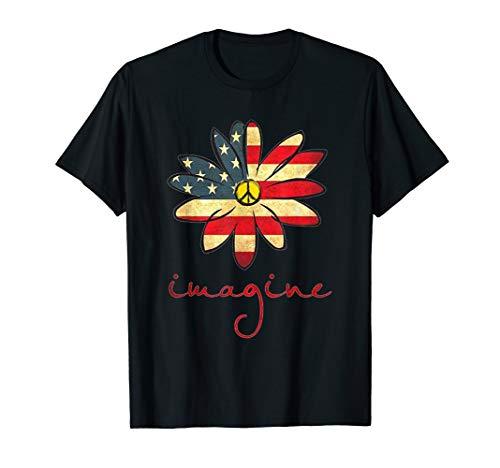 (Imagine Flowers USA Flag Hippie Peace Sign T-Shirt Gift)