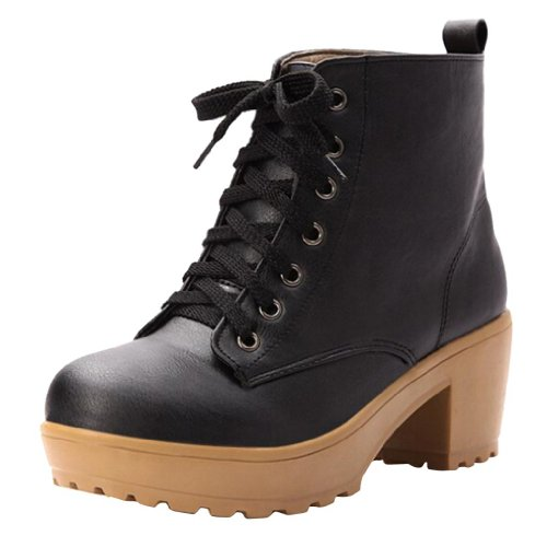 Hee Grand Women PU Leather Chunky Heel Lace up Bootie Boots Black TjMA0x57o