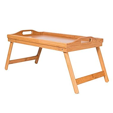 BirdRock Home Bamboo Lap Desk Bed Tray | Handles | Foldable Breakfast Serving Tray | Pull Down Legs | Laptop Stand | Natural