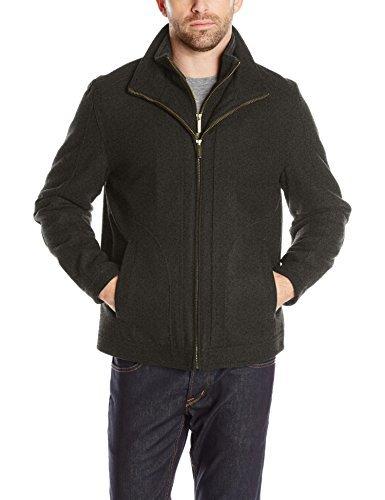 - London Fog Men's Wool Blend Stand Collar Jacket with Bib, Loden Heather, XXL