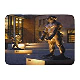 Aabagael Bath Mat Palo Alto Ca USA July 31 2007 Sculptures by Auguste Rodin are Illuminated Outside The Museum on Campus Bathroom Decor Rug 16'' x 24''