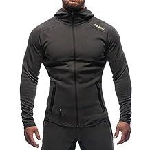 BROKIG Men's Gym Zipper Hoodie, Active Muscle Slim Fit Hoody Hooded Sweatshirts with Two Zip Pockets (Large=(Tag XL), Dark Gray)