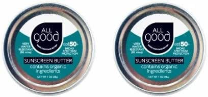 All Good Sunscreen Butter - Zinc Oxide - Coral Reef Safe - Water Resistant - UVA/UVB Broad Spectrum - SPF 50+ (1 oz)(2-Pack)