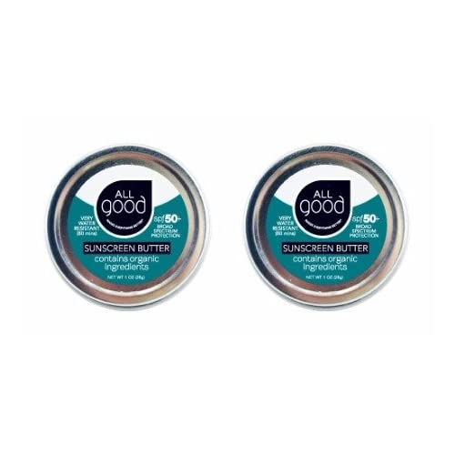 All Good Organic Sunscreen Butter - Zinc Oxide - Coral Reef Safe - Water Resistant - UVA/UVB Broad Spectrum - SPF 50+ (1 oz)(2-Pack)