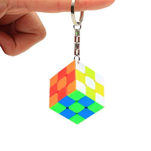 CuberSpeed Mini 3x3 Keychain Cube Keyring Cube Magic Cube Stickerless Bright Speed Cube