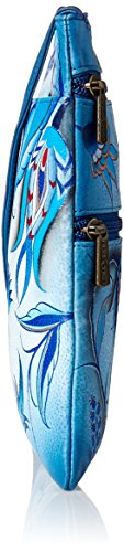 Bewitching Women's Double Bag Crossbody Travel Treasures One size Blues Painted Oct Zip Anuschka Hand Leather Ocean Genuine ZCqwwAT