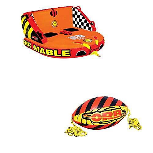 SportsStuff Big Mable Double Rider Towable Tube & Orb 60-Foot Towable Rope Ball ()